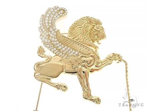 18K Yellow Gold Custom Brooch 65129 Men Specials