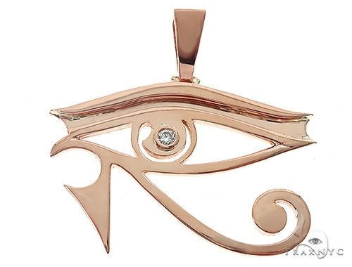 Custom Made Bezel Diamond Eye of Horus Pendant Egyptian Evil Eye 65130 Metal