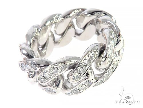 14K White Gold Diamond Miami Cuban Link Ring 65136 Stone