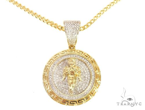 Diamond Angel Pendant Franco Chain Set 65139 Style