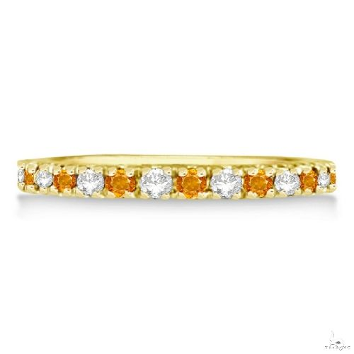 Diamond and Citrine Ring Guard Stackable Band 14k Yellow Gold Anniversary/Fashion