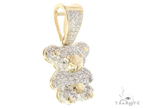 10K Yellow Gold Diamond Bear Pendant 65142 Stone