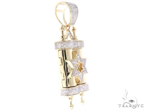 10K Yellow Gold Diamond Torah Pendant 65143 Metal