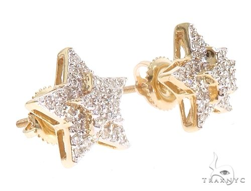 10K Yellow Gold Star Diamond Earrings Stone
