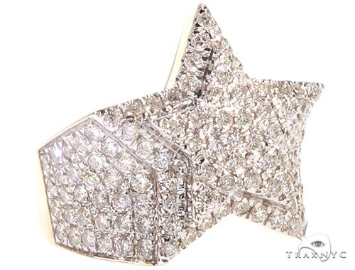 10K Yellow Gold Star Diamond Ring 65149 Stone