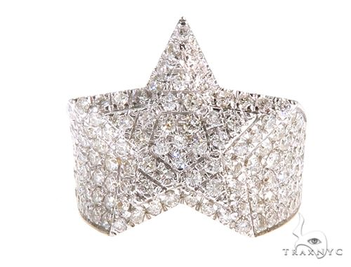 10K Yellow Gold Star Diamond Ring 65149 Stone