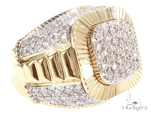 10k Yellow Gold Men's Cluster Diamond Jubilee Ring 65150 Stone