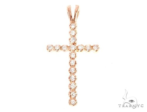 14k Rose Gold Round Cut Cross 4 65153 Diamond