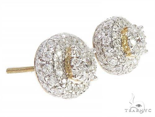 10K Yellow Gold Cluster Stud Diamond Earrings 65155 Stone