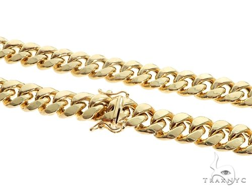 Miami Cuban Chain Hollow 14K Yellow Gold 24 Inches 7.5mm 65167 Gold