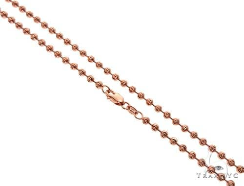 14k Rose Gold Moon Cut Chain 24 Inches 3mm 16.7 Grams 65182 Gold