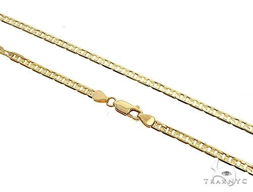 14K Yellow Gold Flat Mariner Link Chain 20 Inches 3.5mm 11 Grams 65188 Gold