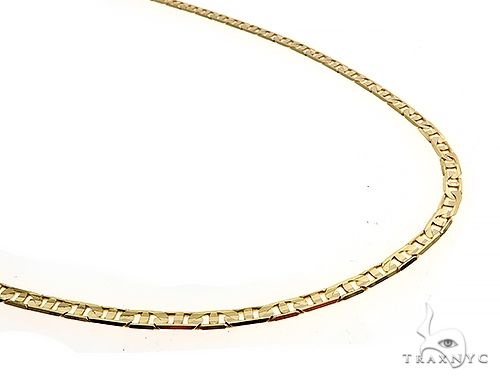 14K Yellow Gold Flat Mariner Link Chain 24 Inches 3.5mm 13.2 Grams 65193 Gold