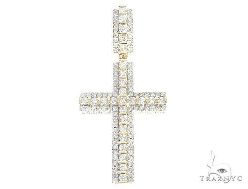 10K Yellow Gold Tension Diamond Cross 65202 Metal
