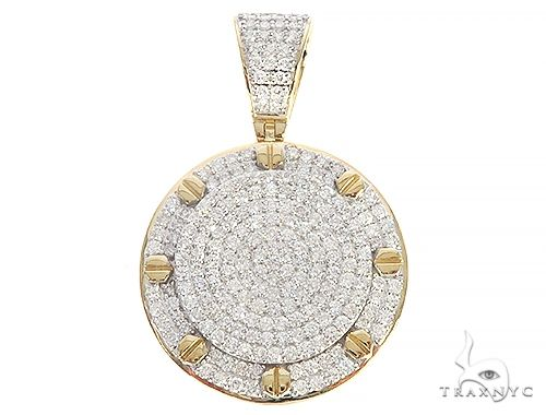 10K Yellow Gold Round Shape Diamond Pendant 65206 Metal