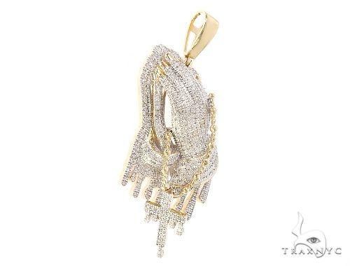 10K Yellow Gold Diamond Praying Hands With Cross Pendant 65213 Metal