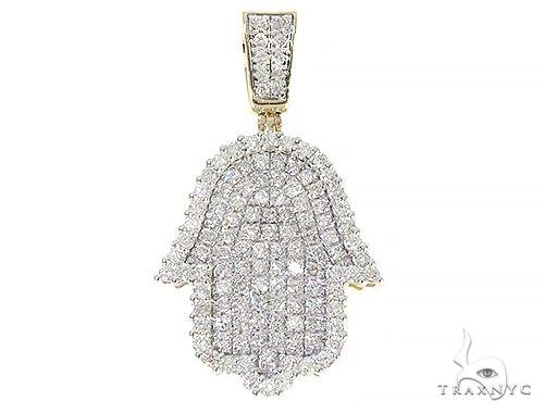 10K Yellow Gold Diamond Hamsa Pendant 65215 Metal