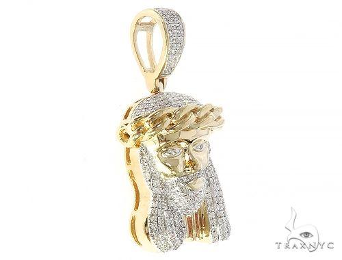 10K Yellow Gold Diamond Cuban Link Crown Jesus Pendant Metal