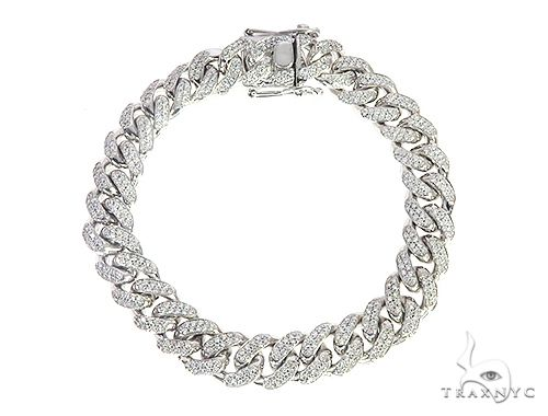 10K White Gold Miami Cuban Diamond Bracelet 65226 Diamond
