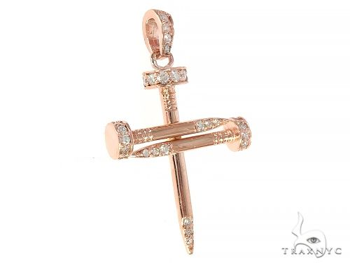 14k Rose Gold Diamond Nail Cross Pendant 65229 Diamond