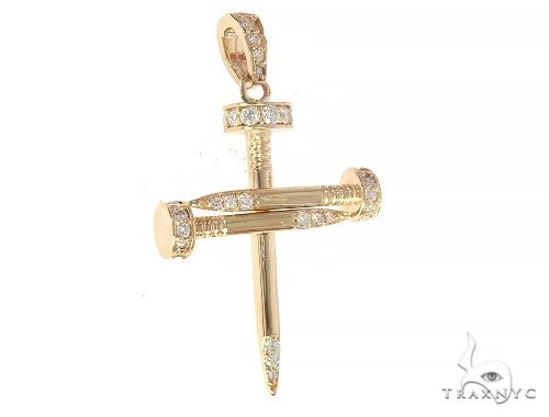 14k Yellow Gold Diamond Nail Cross Pendant Diamond