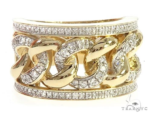 10K Yellow Gold Diamond Miami Cuban Ring 65232 Stone
