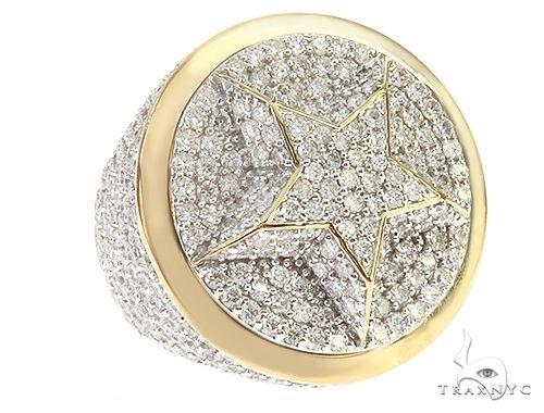 10K Yellow Gold Star Diamond Ring 65234 Stone