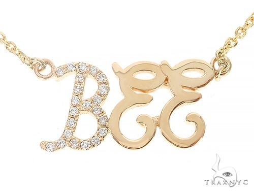 Custom Diamond Name Pendant Bee Yellow Gold Small 65237 Style