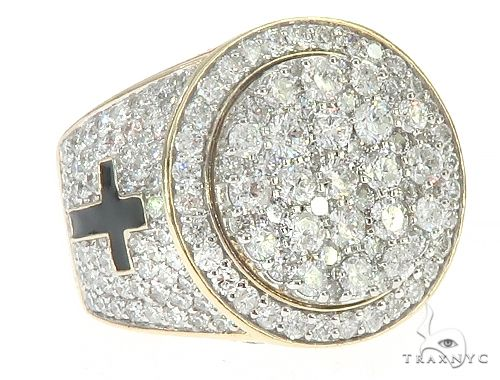 10K Yellow Gold Diamond Ring With Black Enamel Crosses On Side 65239 Stone