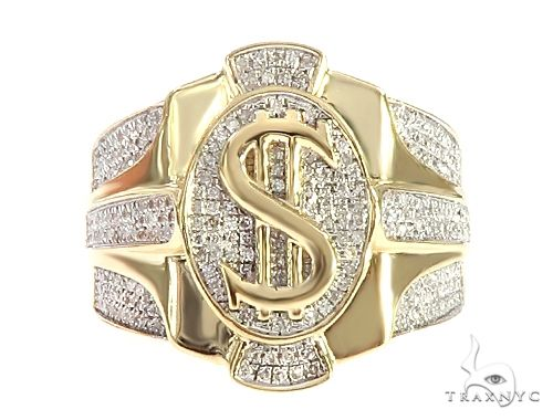 10K Yellow Gold Diamond Dollar Sign Ring 65240 Stone