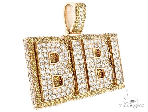 Special Custom Yellow Gold Name Pendant  BIBI Prong Diamonds 65247 Metal