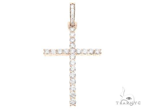 Custom 14K Rose Gold Prong Diamond Cross Pendant 65248 Diamond Cross Pendants