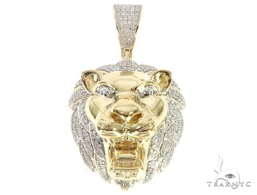 10K Yellow Gold Diamond Lion Head Pendant 65251 Metal