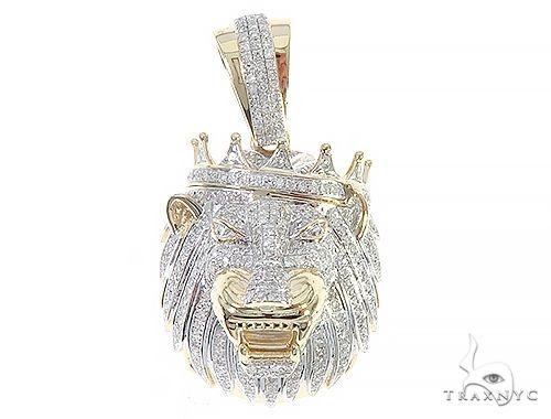 10K Yellow Gold Diamond Lion King Crown Pendant 65252 Metal