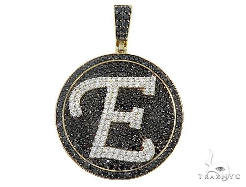 Custom Special White Gold Black & White Diamond E Initial Pendant 65250 Style