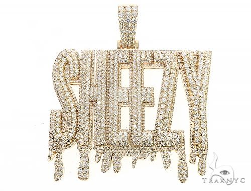 Special Custom Yellow Gold  Name Pendant Sheezy with Drip-Prong Set 65254 Style