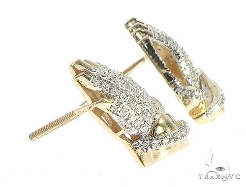 10K Yellow Gold Diamond Praying Hands Earrings 65261 Stone