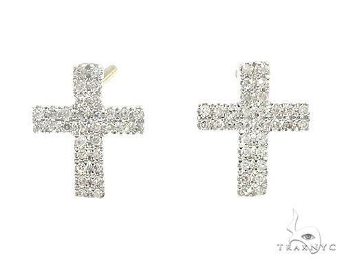 10K Yellow Gold Diamond Cross Earrings 65262 Stone