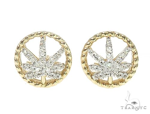 10K Yellow Gold Micro Pave Hip Hop Earrings 65267 Hip Hop Earrings