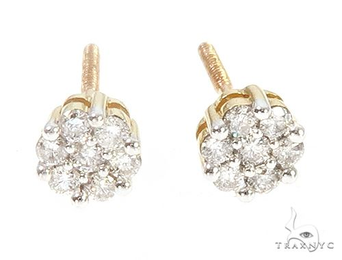 10K Yellow Gold Diamond Flower Earrings 65275 Stone