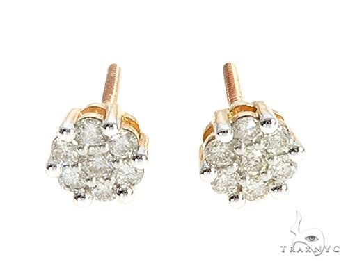 10K Yellow Gold or White Gold Diamond Flower Earrings 65276 Stone