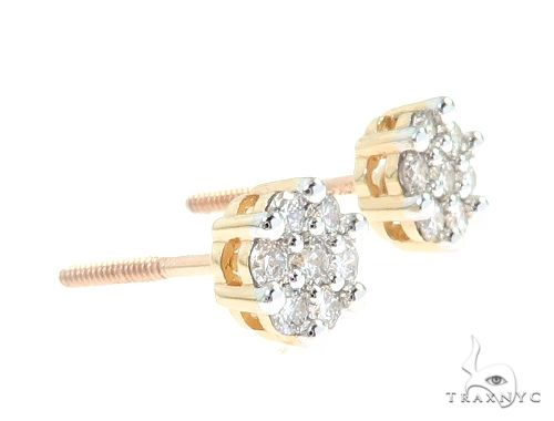 10K Yellow Gold Diamond Flower Earrings 65276 Stone