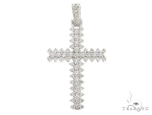 14K White Gold Prong Diamond Cross 65279 Diamond