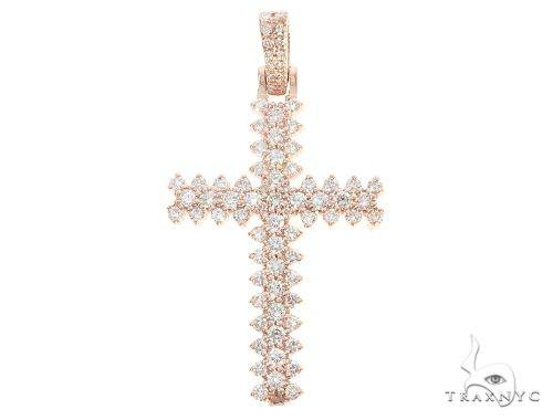 14K Rose Gold Prong Diamond Cross 65280 Diamond