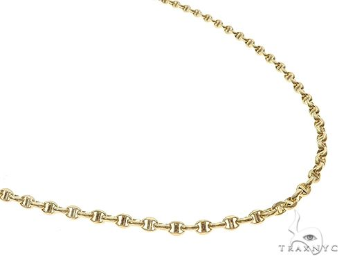14K Yellow Gold Puffed Mariner Anchor Link Chain 22 Inches 3mm 5.5 Grams 65287 Gold