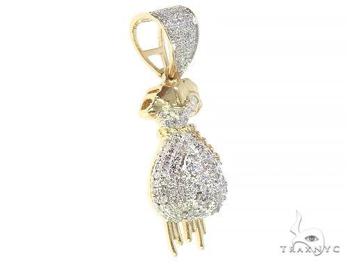 10K Yellow Gold Diamond Money Bag Pendant 65292 Stone