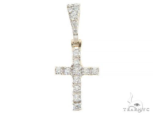 14K Yellow Gold Diamond Small Cross 65299 Style