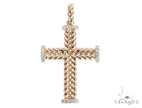 14K Rose Gold Diamond Double Rope Cross 65303 Diamond