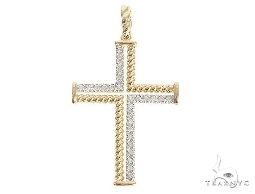 14K Yellow Gold Diamond Rope Cross 65304 Diamond