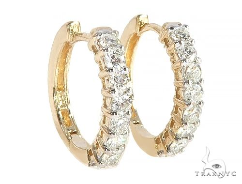 14K Yellow Gold Prong Diamond Small Hoops Earring 65307 Stone